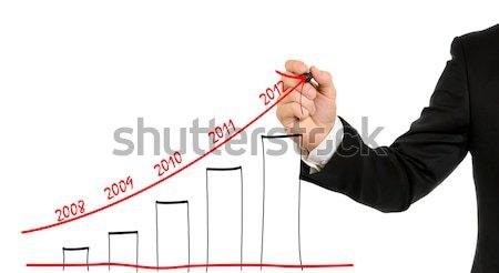 бизнесмен стороны написать графа изолированный белый Сток-фото © ashumskiy