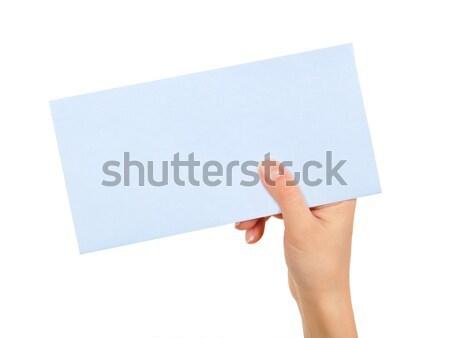 女性 手 青 シート 紙 ストックフォト © ashumskiy