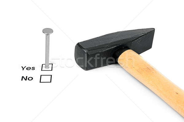 Nail which mark checkbox and hammer Stock photo © ashumskiy