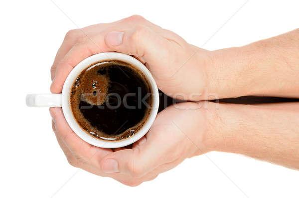 Foto d'archivio: Due · mani · Cup · fresche · caffè