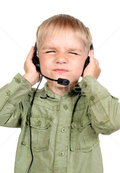 Portrait of little boy with headphones and microphone Stock photo © ashumskiy