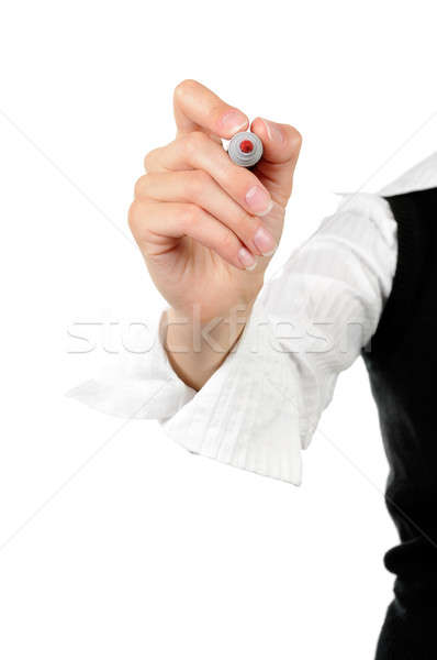 女性実業家 書く ホワイトボード 孤立した 白 女性 ストックフォト © ashumskiy