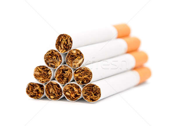 Stock photo: Closeup of a pile of cigarettes