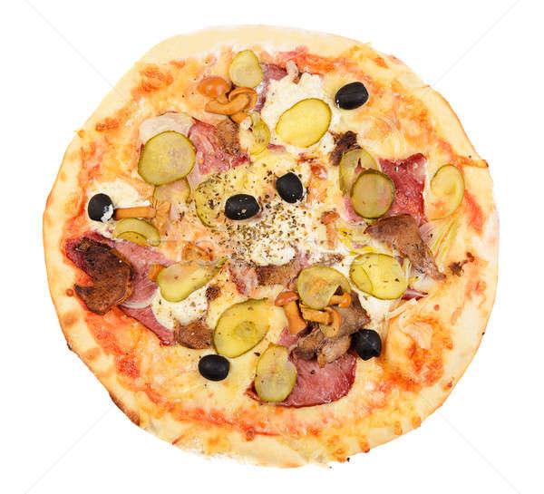 Pizza yalıtılmış beyaz gıda yeşil peynir Stok fotoğraf © ashumskiy