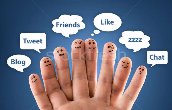 Happy group of finger smileys with social chat sign and speech b Stock photo © ashumskiy