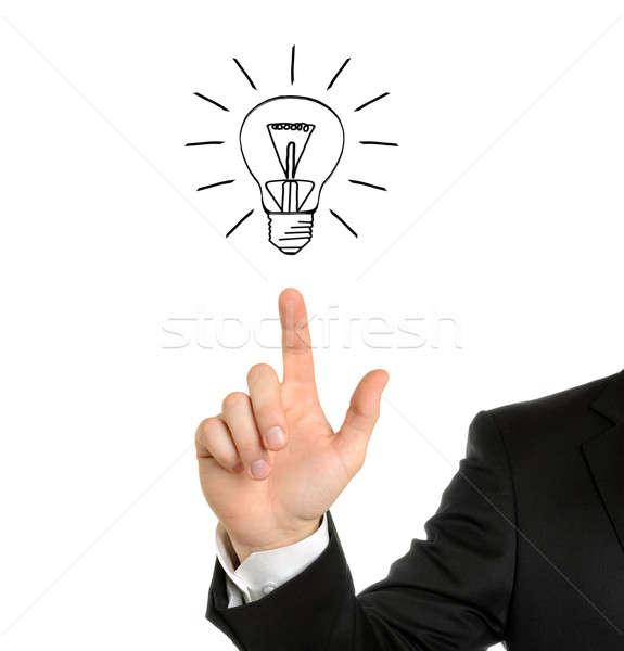 電球 ビジネスマン 手 図面 孤立した 白 ストックフォト © ashumskiy
