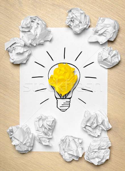 Glühlampe Papier kreative Arbeit Zeichnung Idee Stock foto © ashumskiy