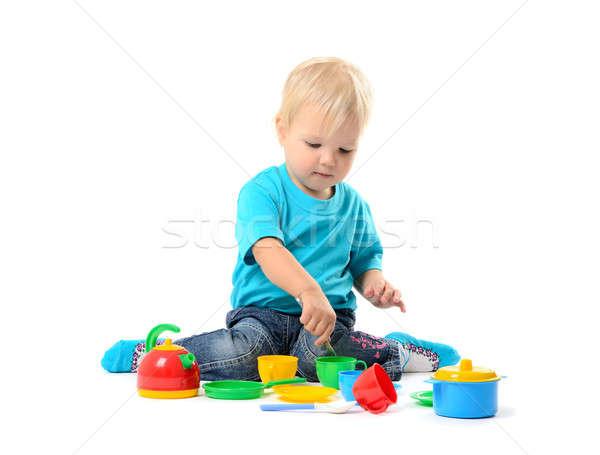 かわいい 子供 少女 演奏 おもちゃ 孤立した ストックフォト © ashumskiy