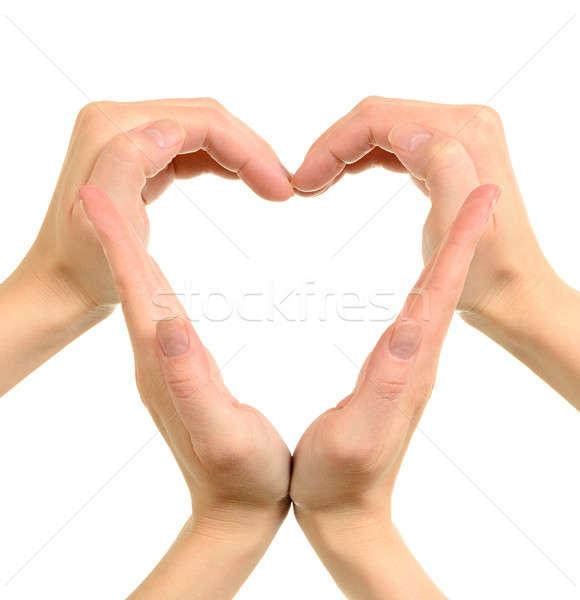 Kalp eller simge yalıtılmış beyaz sevmek Stok fotoğraf © ashumskiy