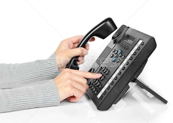 Mãos telefone jovem mão tecnologia trabalhando Foto stock © ashumskiy