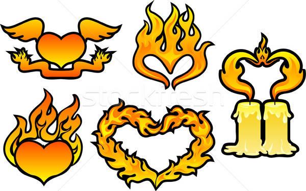 Ingesteld vlam harten abstract licht oranje Stockfoto © ashusha