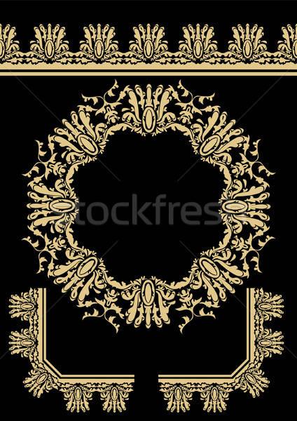 Foto stock: Decorativo · elementos · projeto · folha · preto