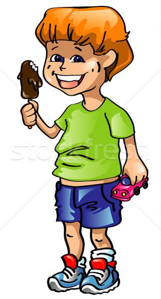 Jongen icecream lachend hand chocolade Stockfoto © ashusha