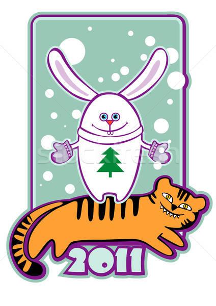 Nieuwe jaren kaart symbool 2011 konijn Stockfoto © ashusha