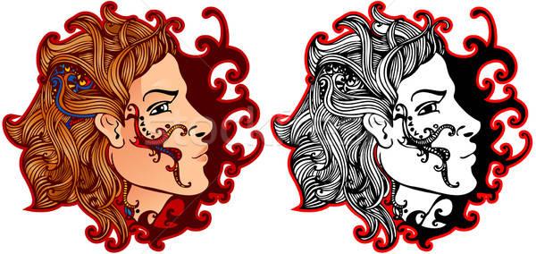 Profiel man ingericht tattoo mannen lippen Stockfoto © ashusha