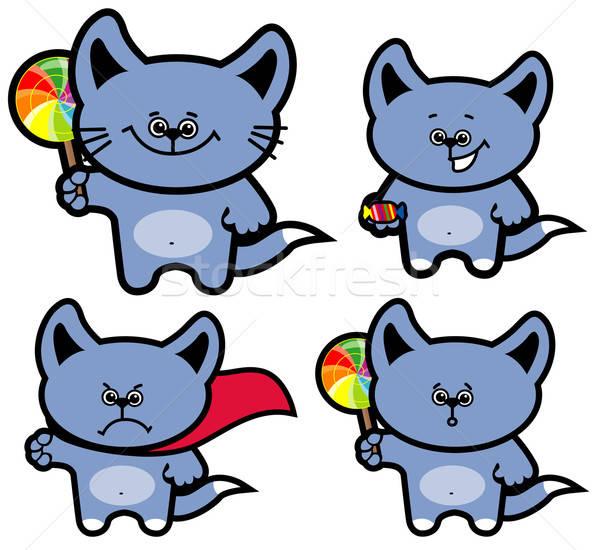 Foto stock: Conjunto · desenho · animado · gatinho · gato · doce · brinquedo