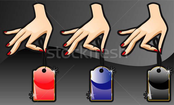 Label hand business handen teken Blauw Stockfoto © ashusha