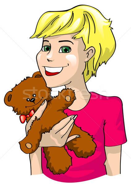 Meisje handen speelgoed beer gezicht kind Stockfoto © ashusha