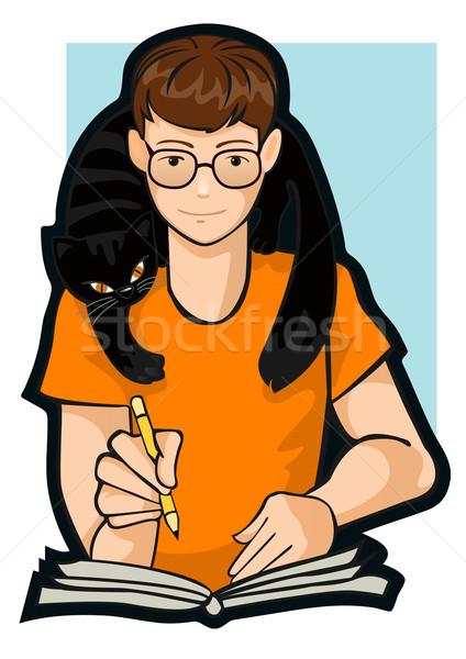 Tekening jongen kat schouders poot potlood Stockfoto © ashusha