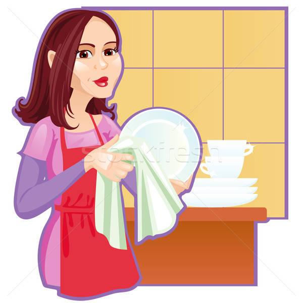 Meisje platen keuken vrouwen schoonheid meisjes Stockfoto © ashusha