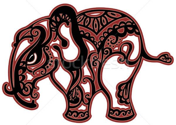 Olifant ingericht ornament natuur ontwerp kunst Stockfoto © ashusha
