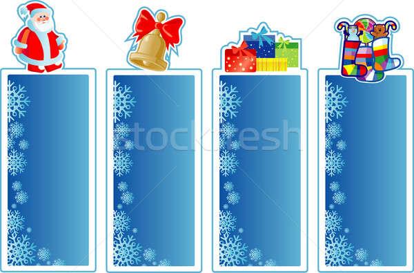 Ingesteld christmas banners Blauw vak groene Stockfoto © ashusha