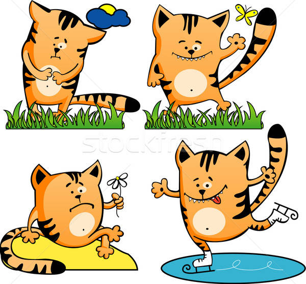 Ingesteld vier Rood cartoon kittens kat Stockfoto © ashusha