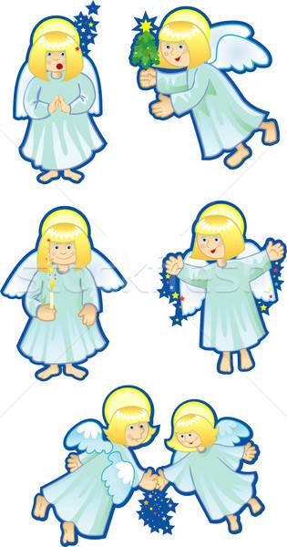 Ingesteld christmas engelen licht sterren hemel Stockfoto © ashusha