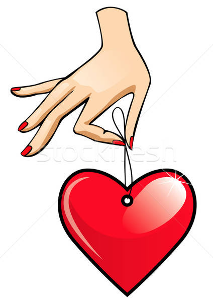 Hart label hand handen teken Blauw Stockfoto © ashusha