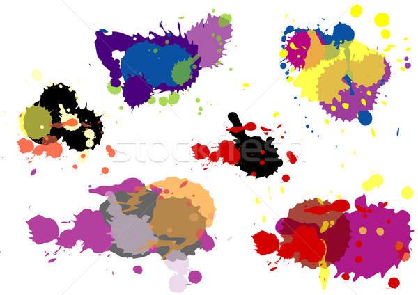 Kleur druppels einde ingesteld water abstract Stockfoto © ashusha