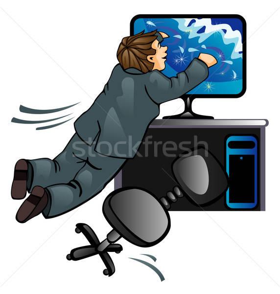 Droom zee persoon pak kantoor computer Stockfoto © ashusha