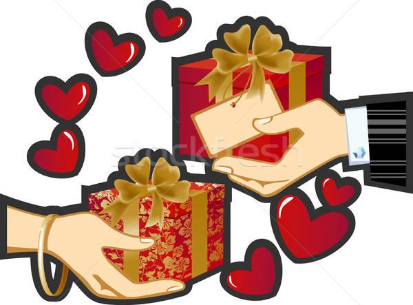 Geschenk vrouwelijke handen houden dozen geschenken Stockfoto © ashusha
