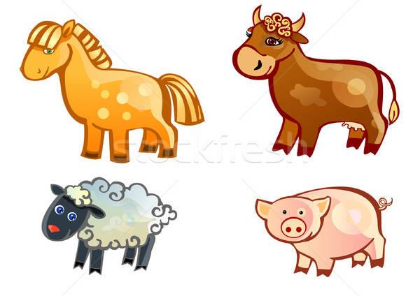 Agriculteur animaux cheval groupe agneau icône Photo stock © ashusha