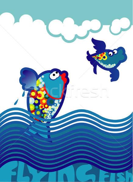 Vliegen vis oceaan dieren golf kleur Stockfoto © ashusha