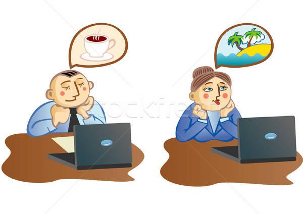 Kantoor dromen kantoormedewerker koffiekopje collega computer Stockfoto © ashusha