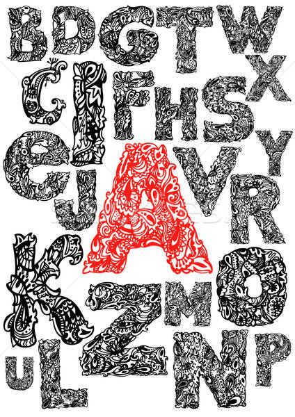 Hand tekening alfabet blad teken Stockfoto © ashusha