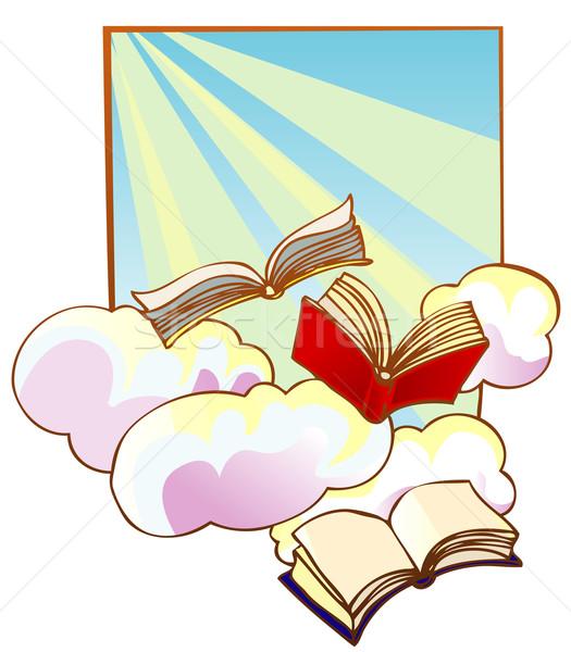 Vliegen boeken hemel kunst onderwijs leuk Stockfoto © ashusha