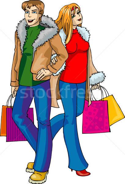 Vrouwen winkelen groene groep stedelijke Stockfoto © ashusha