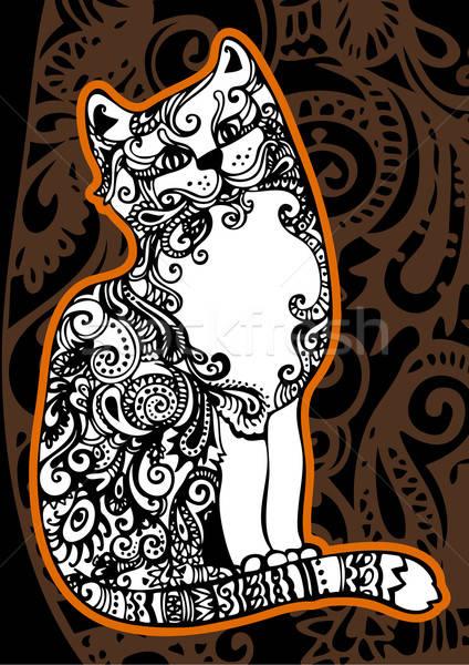Kat ingericht patroon hond abstract teken Stockfoto © ashusha