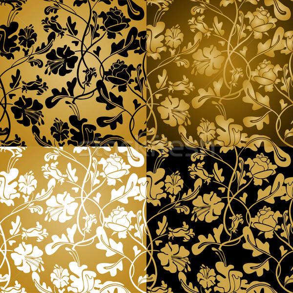 Bloem ornament bronzen goud computer boom Stockfoto © ashusha
