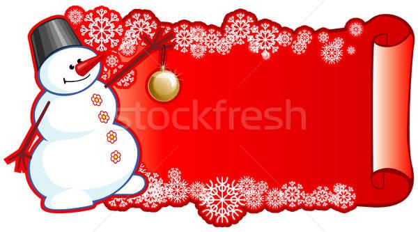 Sneeuwpop bal banner winter Blauw hoed Stockfoto © ashusha
