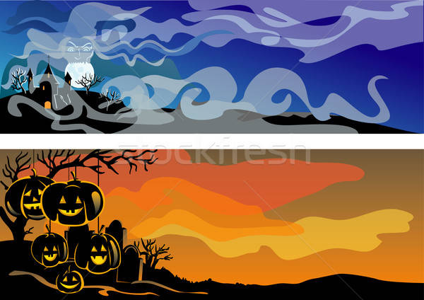 Banner vakantie halloween natuur oranje nacht Stockfoto © ashusha