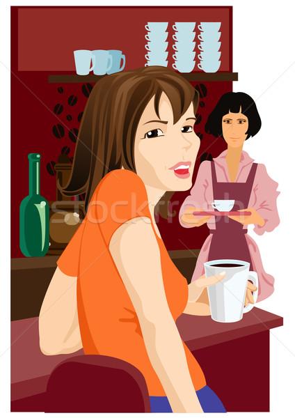 Meisje cafe vergadering hand beker koffie Stockfoto © ashusha