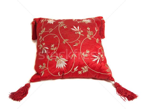 Rood kussen geïsoleerd witte bloem meubels Stockfoto © aspenrock