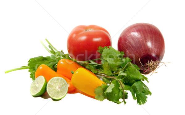Malzemeler domates salsa yalıtılmış beyaz gıda Stok fotoğraf © aspenrock
