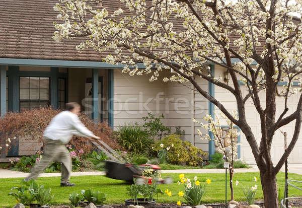 芝刈り機 大掃除 緑 工場 白 ストックフォト © aspenrock
