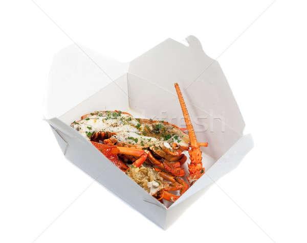 Langosta mitad Shell aislado blanco alimentos Foto stock © aspenrock