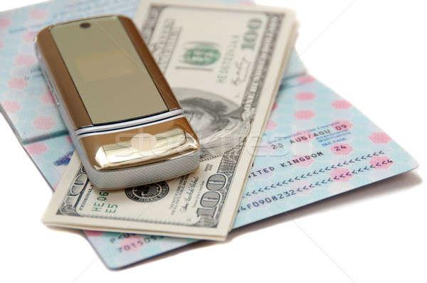 Pasaport para cep telefonu seyahat telefon hareketli Stok fotoğraf © aspenrock
