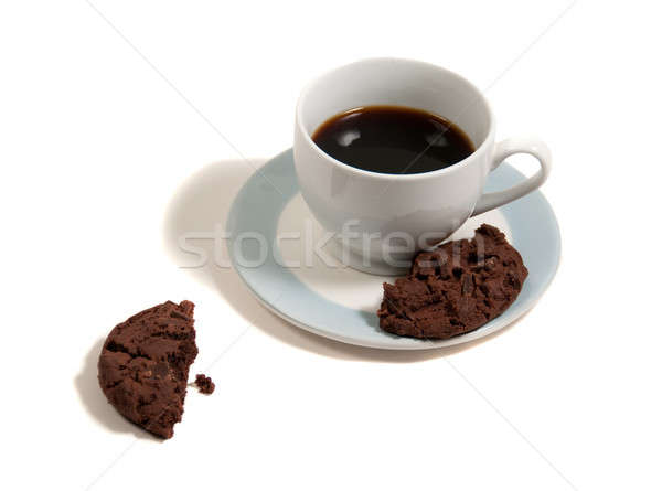 Chip cookie pauze koffie Blauw plaat Stockfoto © aspenrock