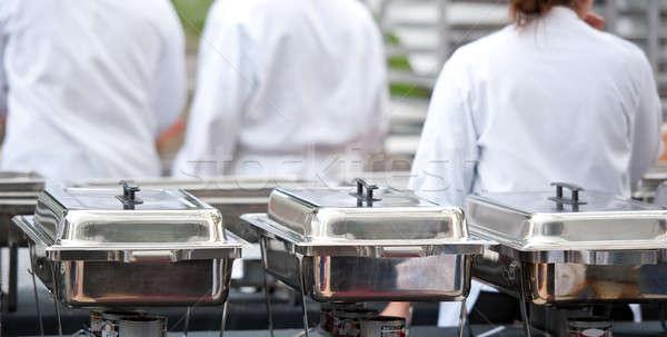 Chefs em pé preparado pratos alimentação cozinhar Foto stock © aspenrock